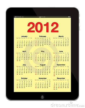 Modern Calendar 2012 inserted in IPad Editorial Image