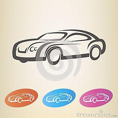 Modern car outlined symbol
