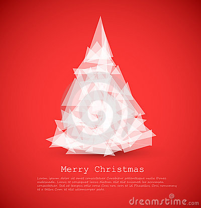 modern card with abstract white christmas tree