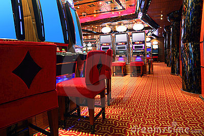 Modern casino hall with game machines