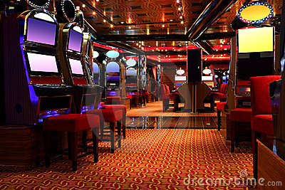 Modern casino hall with game machines