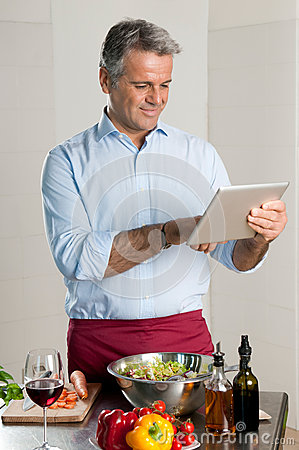 Modern chef with tablet