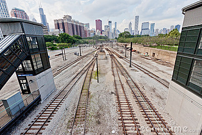 Modern Chicago and Tracks Editorial Stock Photo