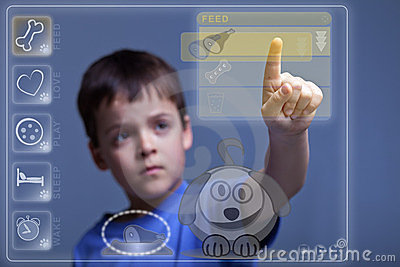 Modern child feeding virtual pet