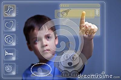 Modern child feeding virtual pet