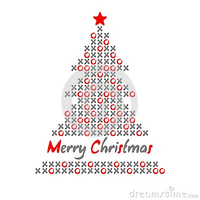 Modern christmas tree card with noughts and crosses,  illustration