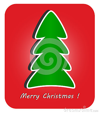 Modern Christmas Tree on red background
