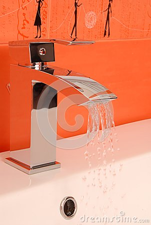 Modern chromium-plated  mixer tap