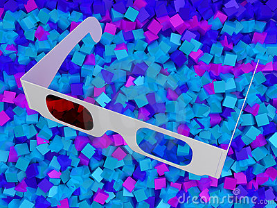 Modern cinema 3D glasses on colorful cubes