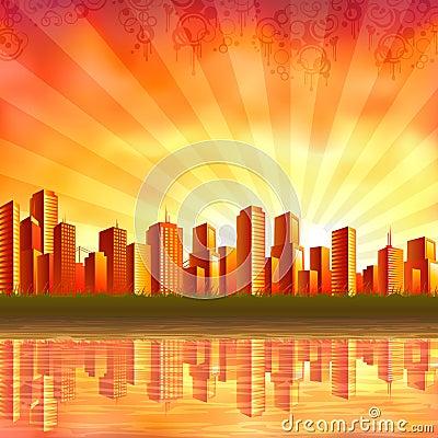 Free Modern City At Sunset Stock Photo - 12106820