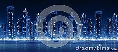 Modern city skyline at night with illuminated skyscrapers