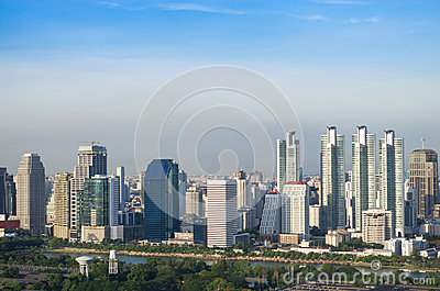 Modern city view of Bangkok with blue sly background, Thailand.