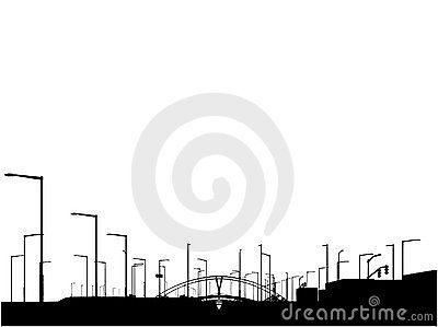 Modern City View Silhouette Vector 02
