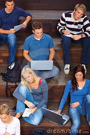 Modern classroom - Busy students studying