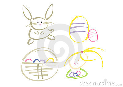 Modern clip-art set: Easter