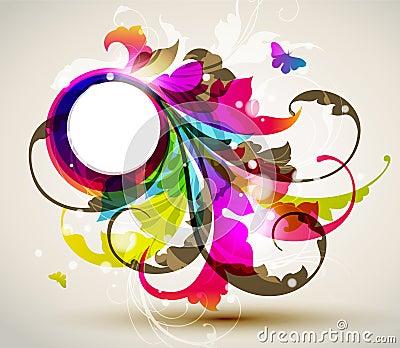 Modern colored floral frame