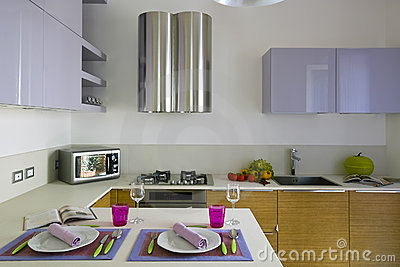 Modern colored kitchen