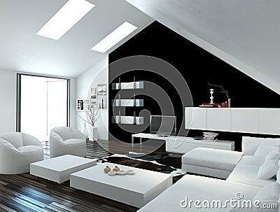 Modern Compact Loft Living Room Interior Stock Illustration Image 41965545