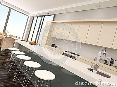 Modern compact open plan kitchenette stock illustration for Kitchenette plan