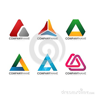 Modern for company industrial construction tech colorful triangle Logo Set Vector Illustration
