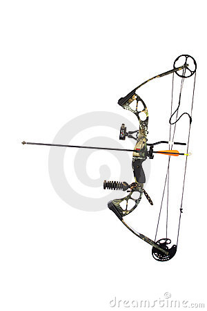 Modern compound bow and arrow isolated