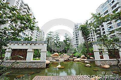 Modern condominiums garden