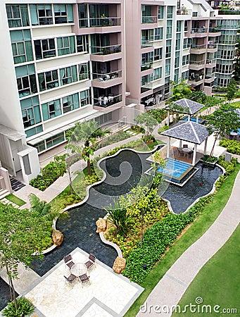 Modern condominiums garden landscaping