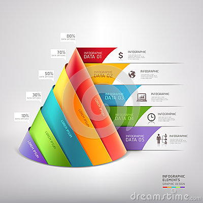 Free Modern Cone 3d Staircase Diagram Business. Royalty Free Stock Photos - 38943078