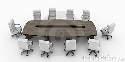 Modern conference table with chairs isolated