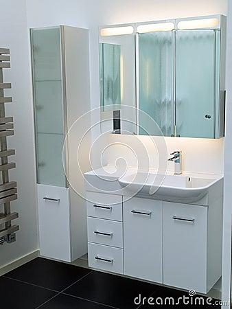 Modern contemporary designer white bathroom