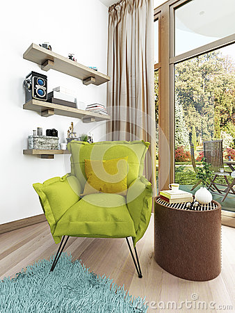 Green Living Room With Modern Fireplace Stock ImagesImage 10352474