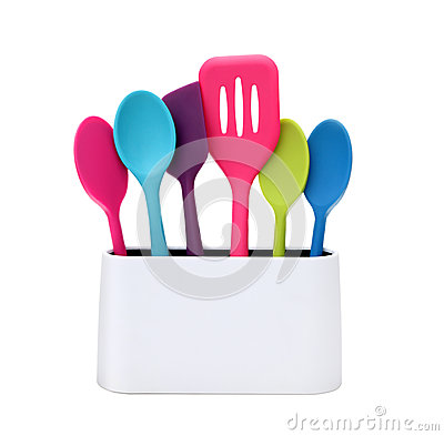 Modern cooking colorful kitchen utensils stock image for Colorful kitchen tools
