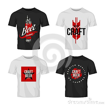 Free Modern Craft Beer Drink Vector Logo Sign For Bar, Pub, Brewery Or Brewhouse Isolated On T-shirt Mock Up. Stock Photos - 117224153