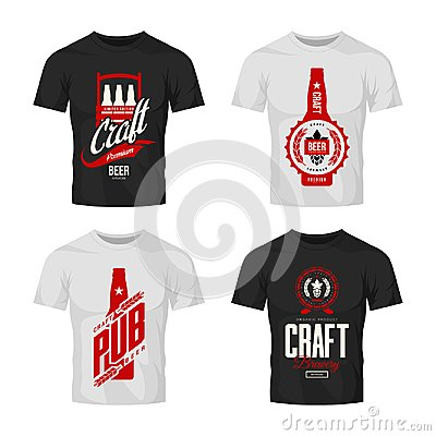 Free Modern Craft Beer Drink Vector Logo Sign For Bar, Pub, Brewery Or Brewhouse Isolated On T-shirt Mock Up. Royalty Free Stock Photo - 117224255