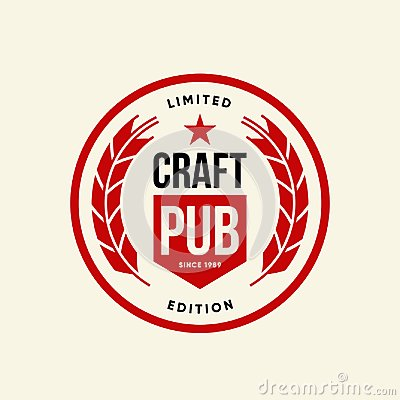 Free Modern Craft Beer Drink Vector Logo Sign For Bar, Pub, Brewhouse Or Brewery Isolated On Light Background. Royalty Free Stock Photos - 118967928