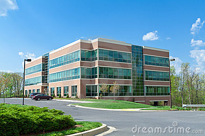 Modern Cube Office Building Parking Suburban MD