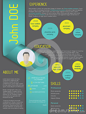 Modern curriculum vitae resume template with ribbon Vector Illustration