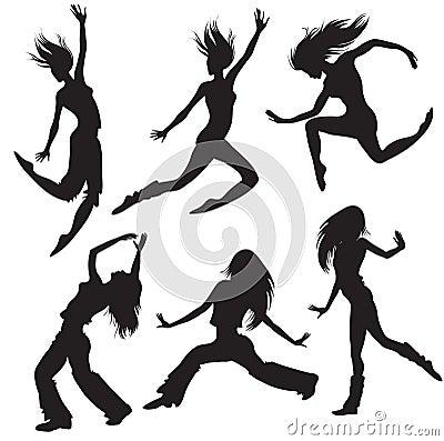Modern dancers silhouette