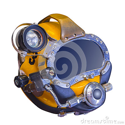 Modern deep sea diving helmet, isolated