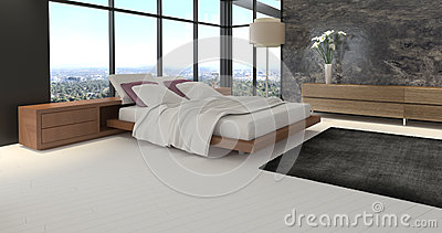 Modern Design Bedroom with landscape view