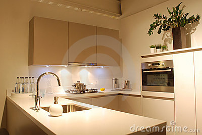 Modern design Kitchen brown-white