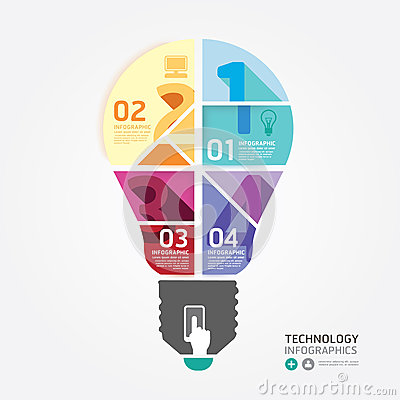 Free Modern Design Minimal Style Infographic Template With Light Bulb Royalty Free Stock Photos - 39543328