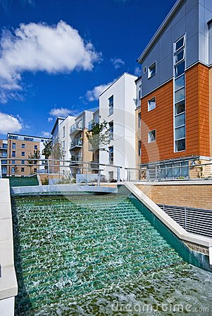 Modern development with water feature
