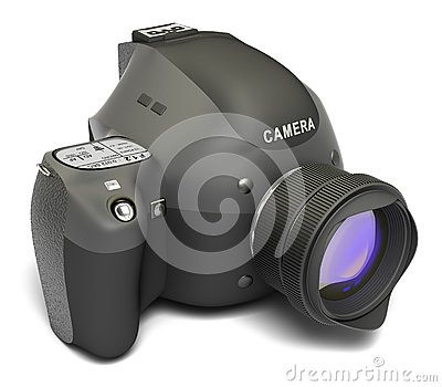 Modern Digital Full-frame Camera With Lens Royalty Free Stock Image - Image: 13981086