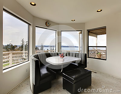Modern dining area with window view