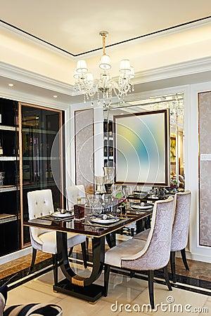 Free Modern Dining Room Illuminated By Led Lighting Royalty Free Stock Photo - 58299135