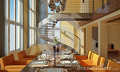 Modern dining room with spiral staircase