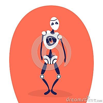 Free Modern Discharged Robot Standing Pose Bot Helper Artificial Intelligence Concept Cartoon Character Full Length Flat Stock Image - 123628981