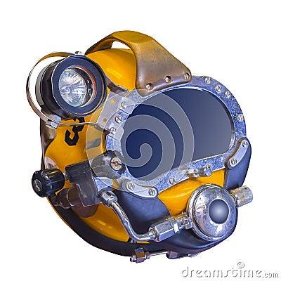 Modern dykninghjälm för djupt hav som isoleras