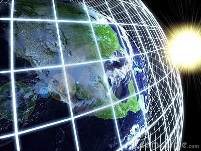 Modern earth in a web network. Abstract background